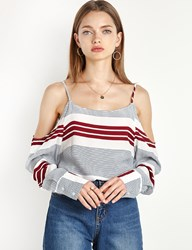 Pixie Market Burgundy Striped Off The Shoulder Blouse
