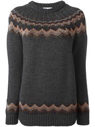 Red Valentino Zig Zag Intarsia Sweater Grey
