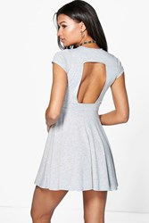 Boohoo Cut Out Back Skater Dress Grey