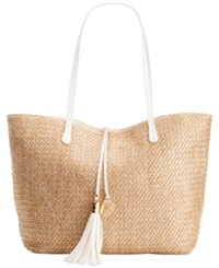 Inc International Concepts Earth Tropical Tote Gold Straw