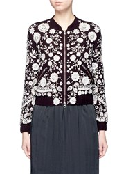 Needle And Thread 'Embroidery Motif' Sequin Floral Bomber Jacket Purple