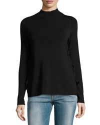 Marled By Reunited Mock Neck Ribbed Sweater Black