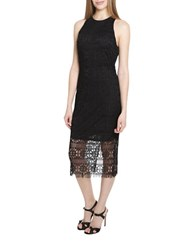 Alexia Admor Lace Illusion Hem Midi Dress Black