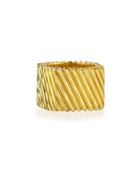 Lc Estate Jewelry Collection Estate Henry Dunay Solid 18K Ridged Square Band Ring