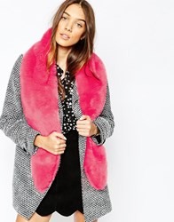 Jack Wills Romanby Long Faux Fur Stole Brightpink