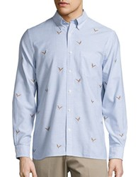 Brooks Brothers Embroidered Striped Oxford Sportshirt Light Blue