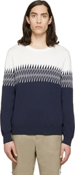Band Of Outsiders White And Navy Zig Zag Sweater