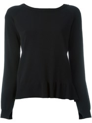 Twin Set Ruffled Hem Knitted Blouse Black