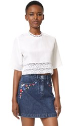 Matin French Lace Cropped Blouse White