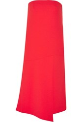 Tibi Strapless Stretch Crepe Dress Red