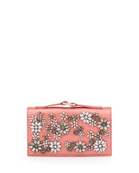 Valentino Floral Rhinestone Satin Evening Clutch Bag Pink
