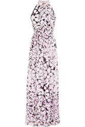 Matthew Williamson Embellished Printed Silk Chiffon Gown Purple
