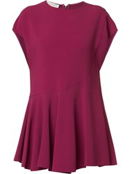 Stella Mccartney Pleated Skirt Peplum Blouse Pink Purple