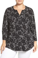 Nydj Plus Size Women's Henley Knit Top Mod Floral