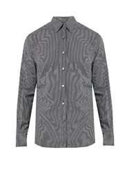Ermenegildo Zegna Micro Geometric Print Cotton Shirt Navy Multi