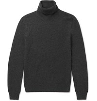 Saint Laurent Distressed Wool And Cashmere Blend Rollneck Sweater Gray