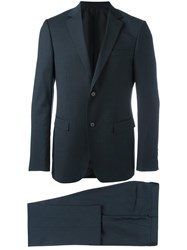 Z Zegna Notched Lapel Suit Blue