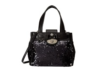 My Flat In London Luxeton Satchel Black Silver Satchel Handbags