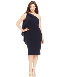 Betsy And Adam Plus Size One Shoulder Ruched Dress Navy