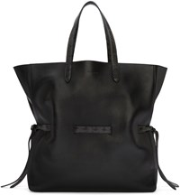 Jil Sander Black Lace Shopper Tote Bag