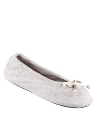 Isotoner Terry Ballet Flat Slippers Stone