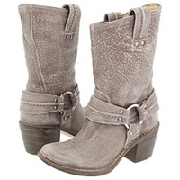 Frye Carmen Harness Short Grey Leather Cowboy Boots Gray