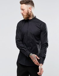 Noose And Monkey Skinny Shirt With Grandad Collar With Stretch Black