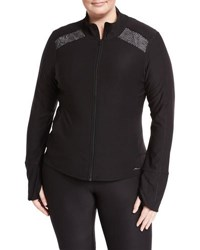X By Gottex Diamond Mesh Insets Zip Front Performance Jacket Black