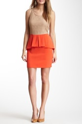 Romeo And Juliet Couture Colorblock Lace Peplum Combo Dress Red