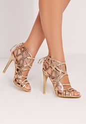 Missguided Strappy Lace Back Heeled Sandal Gold Gold