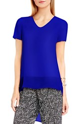 Vince Camuto Women's Shirttail V Neck Top Optic Blue