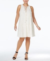 Soprano Plus Size Lace Up Lace Dress Cream