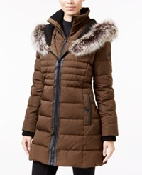 Bcbgeneration Faux Fur Trim Mixed Media Down Puffer Coat Olive