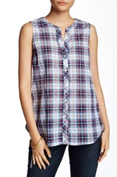 Sandra Ingrish Sleeveless Plaid Shirt Petite Blue