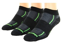 Wrightsock Stride Lo 3 Pair Pack Black Green Stripe Low Cut Socks Shoes