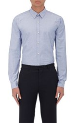 Barneys New York Men's Neat Cotton Shirt Blue