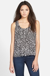 Frenchi Scallop Hem Tank Juniors Black Sweet Tart Daisy