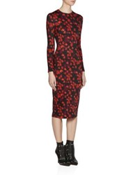 Givenchy Floral Print Long Sleeve Jersey Dress Multi