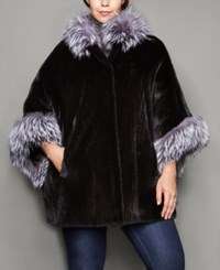 The Fur Vault Plus Size Fox Trim Ribbed Mink Fur Cape