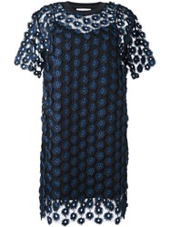 Carven Lace Overlay Dress Blue