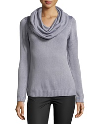 Neiman Marcus Long Sleeve Cowl Neck Sweater Slate