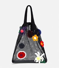 Christopher Kane Crochet Flower Mesh Tote Black