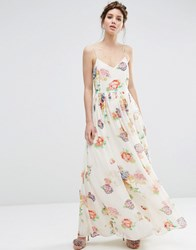 Asos Strappy Pleated Maxi Dress In Floral Print Cream