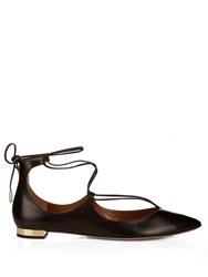 Aquazzura Christy Leather Flats Black