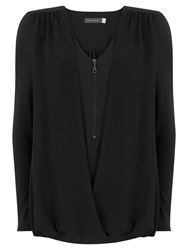 Mint Velvet Zip Front Double Layer Blouson Top Black