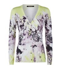 Roberto Cavalli Floral Fine Knit Cardigan Female Yellow