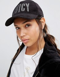 Juicy Couture Crystal Velour Baseball Cap Pitch Black