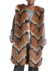 Tracy Reese Long Faux Fur Vest Luggage