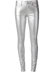 Saint Laurent Skinny Trousers Metallic