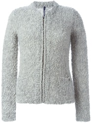 Woolrich Textured Zipped Cardigan Grey